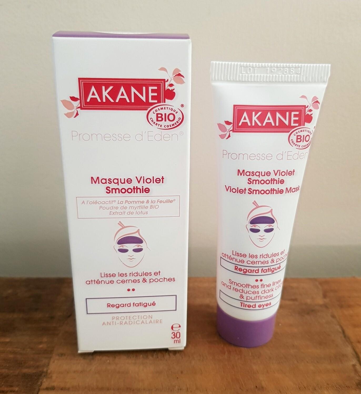 Masque violet smoothie Bio - AKANE Tube de 30 ml Décongestionne et rafraîchit le contour de l'oeil