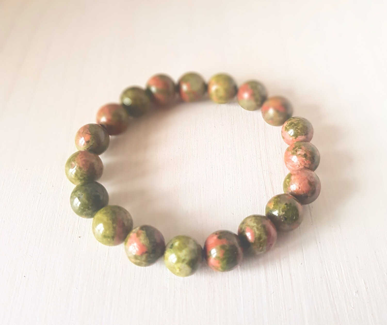 Bracelet en unakite - perle de 10 mm