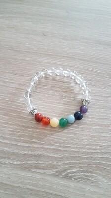 Bracelet perles 7 chakras et cristal de roche