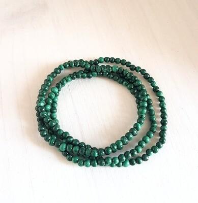Bracelet en malachite 3 tours - Perles de 4 mm