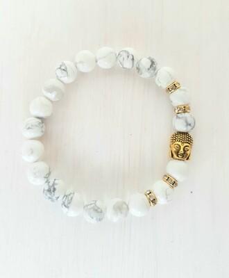 Bracelet Buddha perles en howlite