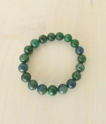 Bracelet en chrysocolle azurite - perles 10 mm