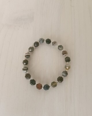 Bracelet en perles facettées en Agate du Botswana