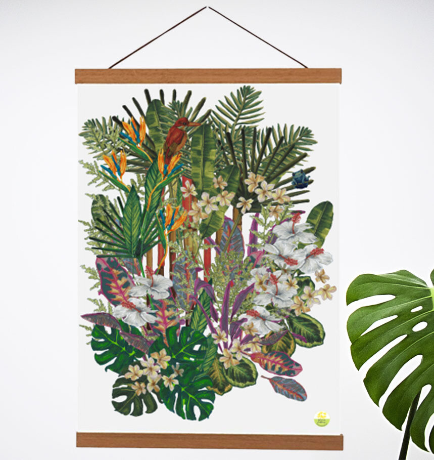 'Tropical Paradise Motif' Teak Wooden Magnetic Wall Art