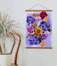 'Painterly Floral' Teak Wooden Magnetic Wall Art