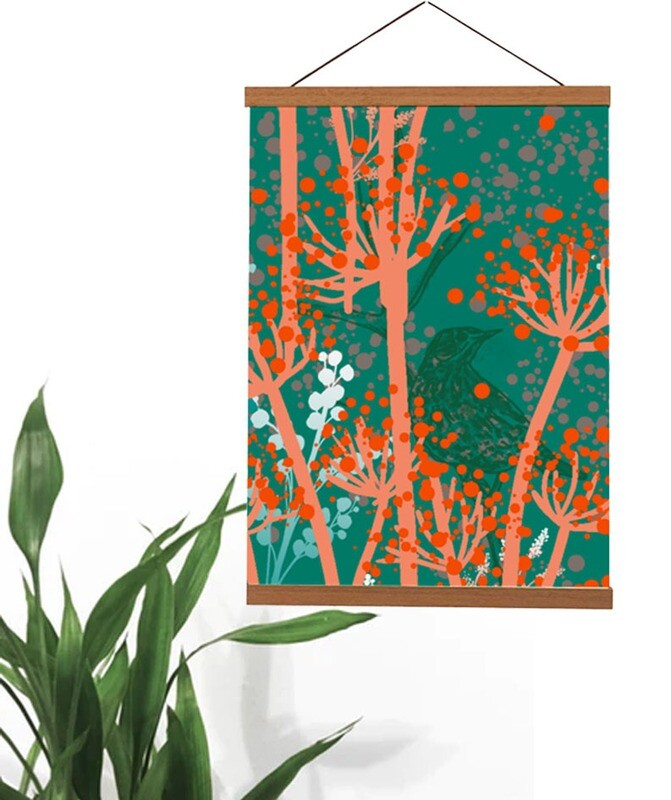 Beautiful 'Autumn Meadow' Teak Wooden Magnetic Wall Art