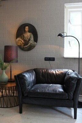 Vintage lederen fauteuil (Zwart of Cognac)