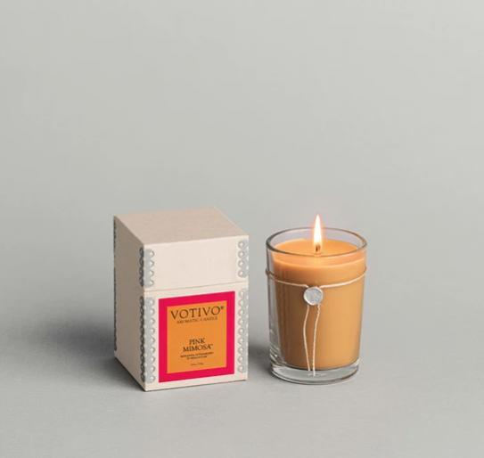 Votivo 6.8 oz Aromatic Candle Pink Mimosa