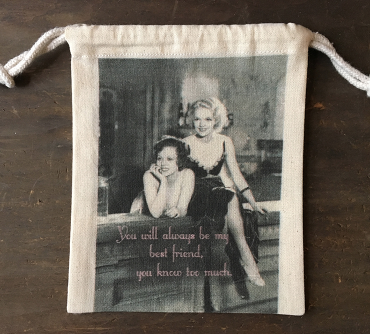 "MY FAVORITE THINGS ""Know Too Much"" Drawstring Pouch"