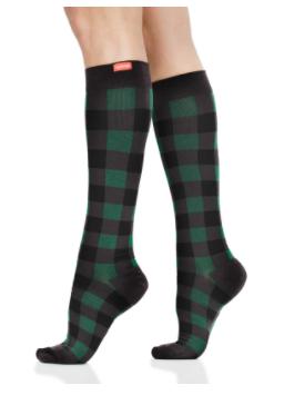 VIMandVIGR Compression Knee High Sock-Montana Plaid: Forest & Black