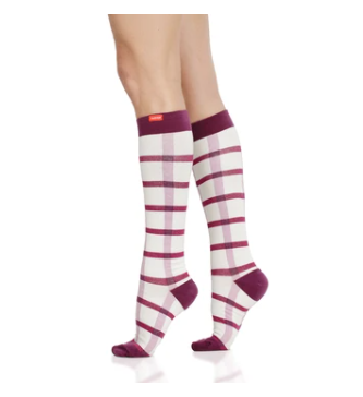 VIMandVIGR Compression Knee High Sock-Block Plaid: Cream & Raspberry