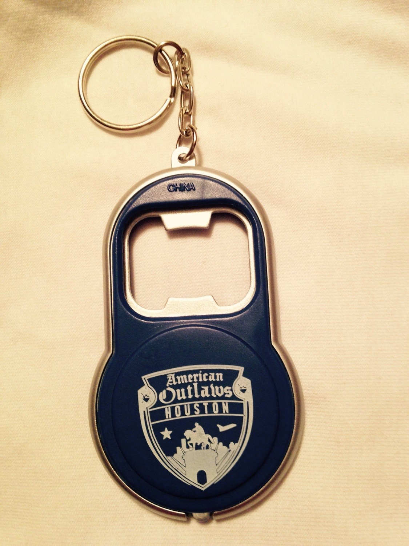 Flash light & bottle opener key chain