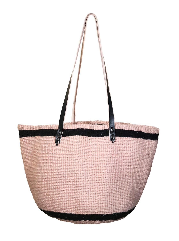 Beige With Dark Brown Strip Tote  Basket - Upcycled Yarn