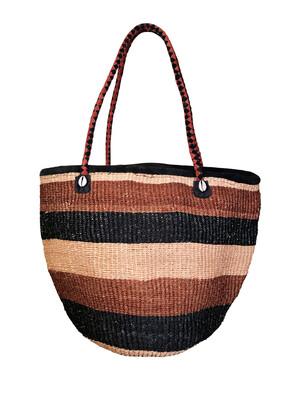 Striped Brown And Beige Tote  Basket