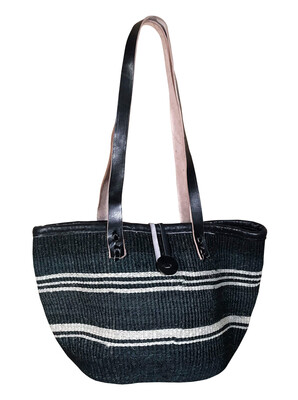 Black With White Stripe Tote  Basket