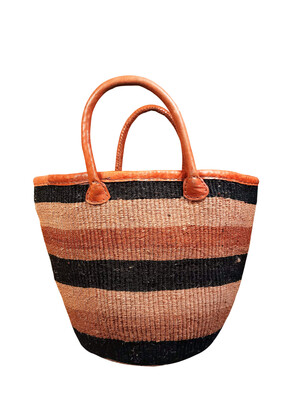 Striped Black And Brown Basket