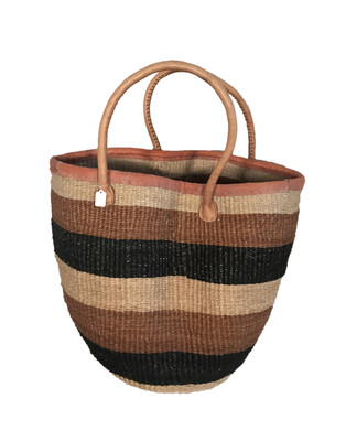 "Brown And Black Medium Basket 12"""