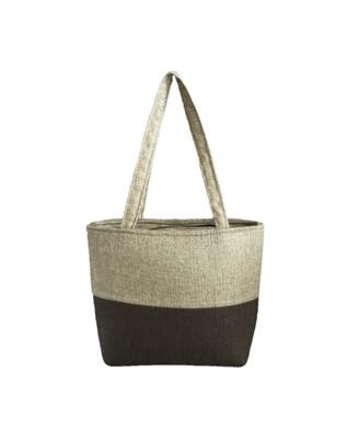 Two Tone Jute Handbag