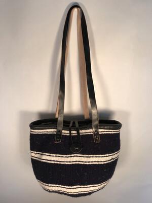 Dark Navy And  White Tote  Basket - Upcycled Yarn