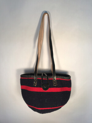 Dark Navy And  Red Tote  Basket - Upcycled Yarn
