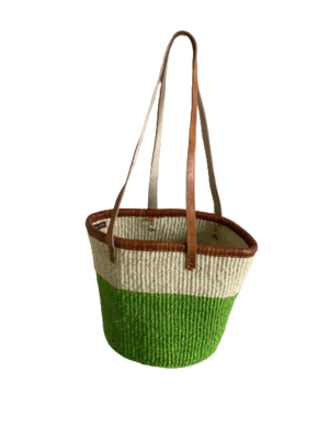 Two Tone Green And Off White Tote  Basket
