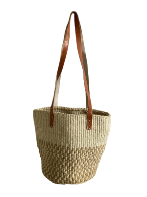 Two Tone Checkered And Off White Tote  Basket