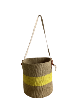 Beige And Yellow  Basket