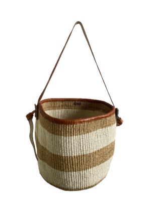 Striped Beige And White Basket