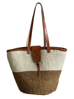 Two Tone Dark Beige And Off White Basket
