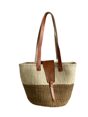 Two Tone Beige And White Tote  Basket