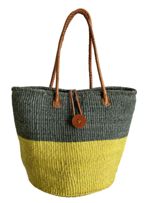 Two Tone Grey And Yellow Basket
