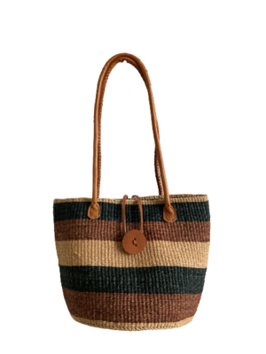 Striped Black and Brown Tote  Basket