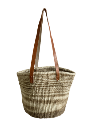 Zebra Style Beige And Off White Tote  Basket