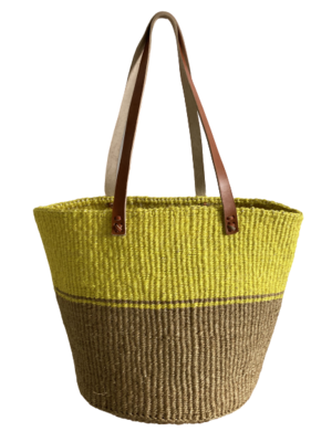 Two Tone Beige And Yellow  Basket