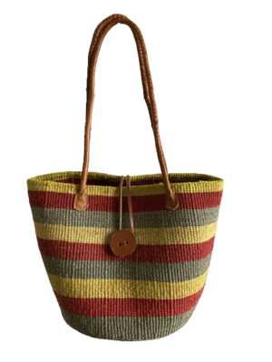 Grey With Coloured Stripe Tote  Basket