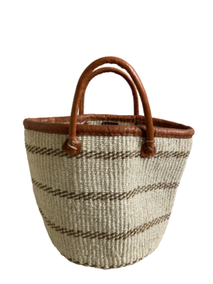 Off White With Brown Stripes Basket
