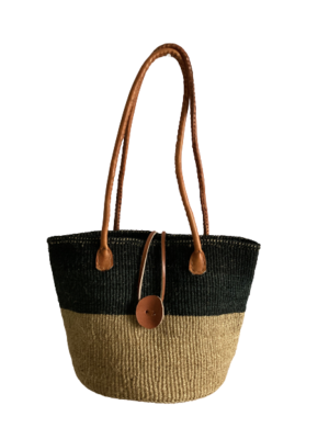 Two Tone Black and Beige Tote  Basket