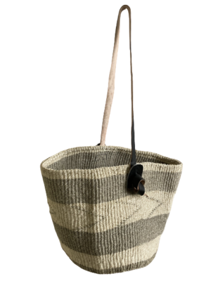 Grey Striped Basket