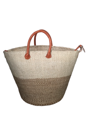 Two Tone Checkered Beige And Off White Basket