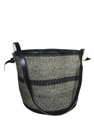 Charcoal And Off White Basket
