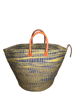 Checkered Yellow and Blue Basket