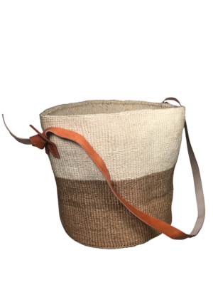 Two Tone Beige And White Basket
