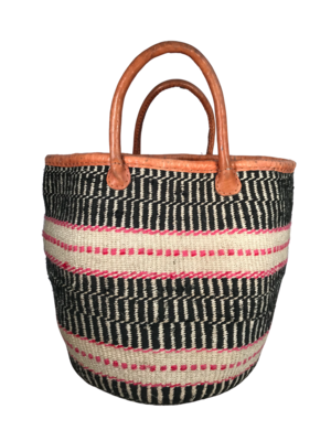 Striped Black And Pink Basket