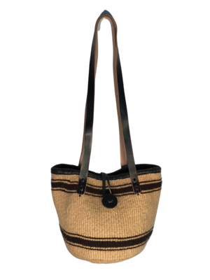 Beige And  Dark Brown Tote  Basket - Upcycled Yarn