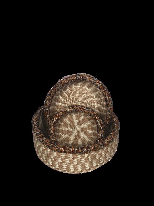 Beaded checkered nestling basket set
