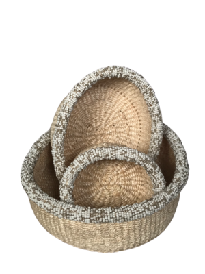 Beaded white small basket set