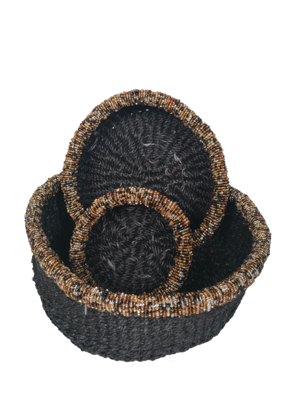 Beaded Black Nesting Basket Set