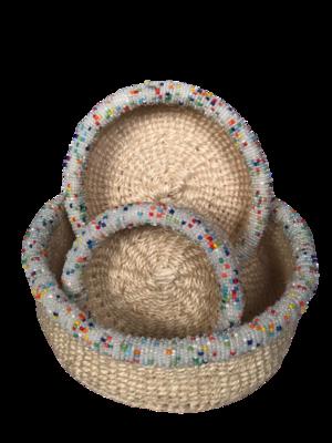 Beaded white basket set