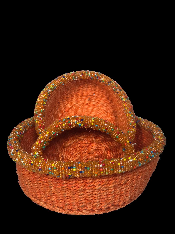 Beaded orange small basket set