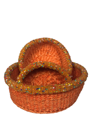 Beaded orange small basket set